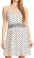 Sakkas Adele Balconette Short Casual Dress Adjustable Shoulder Straps Flared#color_White/black polka dot