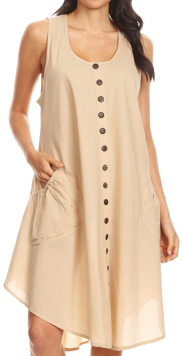 Sakkas Lina Mid Length Casual Summer Tent Swing Sleeveless Dress With Pockets#color_Beige