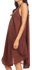 Sakkas Lina Mid Length Casual Summer Tent Swing Sleeveless Dress With Pockets
