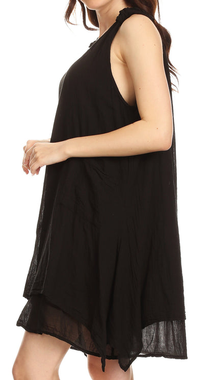 Sakkas Genna Two Layer Sleeveless Ruched Shoulder Straps Round Neck Tent Dress