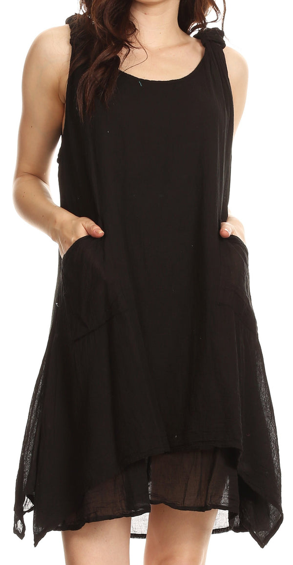Sakkas Genna Two Layer Sleeveless Ruched Shoulder Straps Round Neck Tent Dress#color_Black