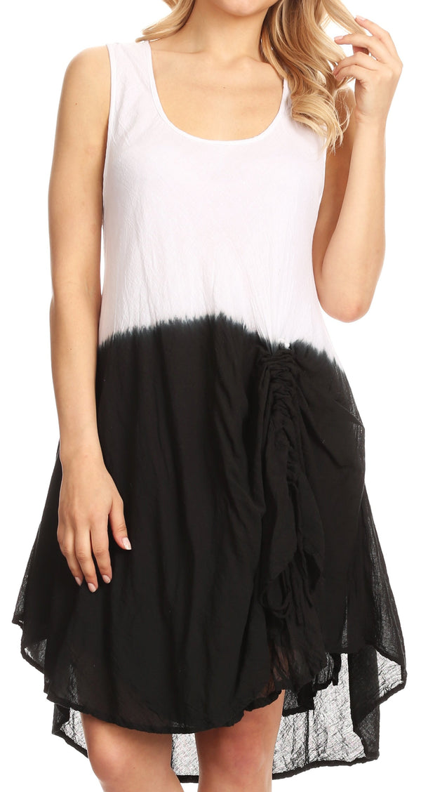 Sakkas Milana Light Summer Tie-dye Flowy Sleeveless Dress with String at Hem#color_Black