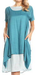Sakkas Arina Midi Double Layered Short Sleeve Dress Solid with Pockets