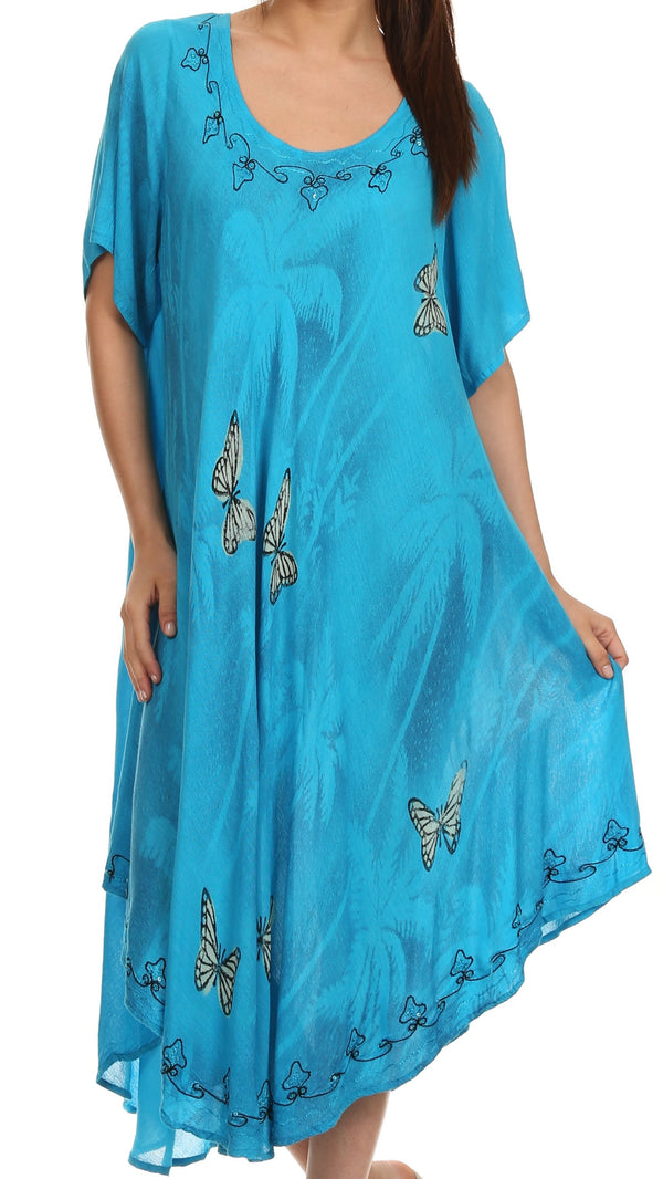 Sakkas Jana Butterfly Sequin Emroidered Cap Sleeves Caftan Dress / Cover Up