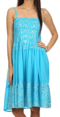 Sakkas Galina Embroidered Adjustable Spaghetti Straps Smocked Bodice Dress