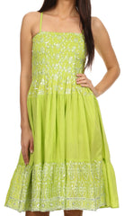 Sakkas Irina Sequin Embroidered Smocked Bodice Mid Length Dress