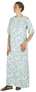 Sakkas Maha Soft Womens Short Sleeve Nightgown Sleep Dress Breathable No Bunch Up #color_Aqua-floral