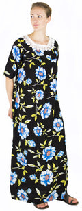 Sakkas Maha Soft Womens Short Sleeve Nightgown Sleep Dress Breathable No Bunch Up #color_Black-multi