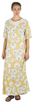 Sakkas Maha Soft Womens Short Sleeve Nightgown Sleep Dress Breathable No Bunch Up #color_Camel-floral