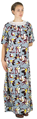 Sakkas Maha Soft Womens Short Sleeve Nightgown Sleep Dress Breathable No Bunch Up #color_Dusty Gray-floral