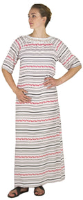 Sakkas Maha Soft Womens Short Sleeve Nightgown Sleep Dress Breathable No Bunch Up #color_Dusty Pink-stripes