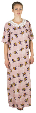 Sakkas Maha Soft Womens Short Sleeve Nightgown Sleep Dress Breathable No Bunch Up #color_Dusty Rose-plaid