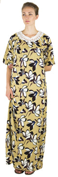 Sakkas Maha Soft Womens Short Sleeve Nightgown Sleep Dress Breathable No Bunch Up #color_Khaki-floral