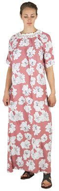 Sakkas Maha Soft Womens Short Sleeve Nightgown Sleep Dress Breathable No Bunch Up #color_Rose-floral