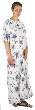 Sakkas Maha Soft Womens Short Sleeve Nightgown Sleep Dress Breathable No Bunch Up #color_White-multi