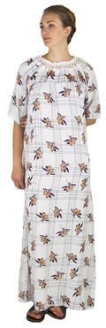 Sakkas Maha Soft Womens Short Sleeve Nightgown Sleep Dress Breathable No Bunch Up #color_White-plaid