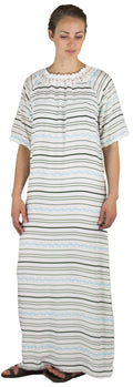 Sakkas Maha Soft Womens Short Sleeve Nightgown Sleep Dress Breathable No Bunch Up #color_White-stripes