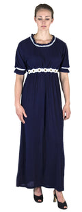 Sakkas Isabis Womens Casual Long  Lace Modest Dress with Short Sleeves Stretchy#color_Navy