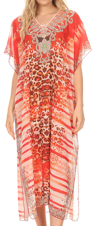 group-Cheeta Red (MKY Astryd Women's Flowy Maxi Long Caftan Dress Cover Up with Rhinestone)