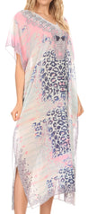 group-Cheeta White (MKY Astryd Women's Flowy Maxi Long Caftan Dress Cover Up with Rhinestone)