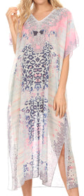 MKY Astryd Women's Flowy Maxi Long Caftan Dress Cover Up with Rhinestone#color_Cheeta White