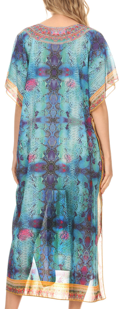 group-Ethnic Blue (MKY Astryd Women's Flowy Maxi Long Caftan Dress Cover Up with Rhinestone)