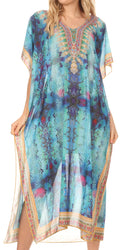MKY Astryd Women's Flowy Maxi Long Caftan Dress Cover Up with Rhinestone#color_Ethnic Blue