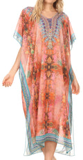 MKY Astryd Women's Flowy Maxi Long Caftan Dress Cover Up with Rhinestone#color_Ethnic Red