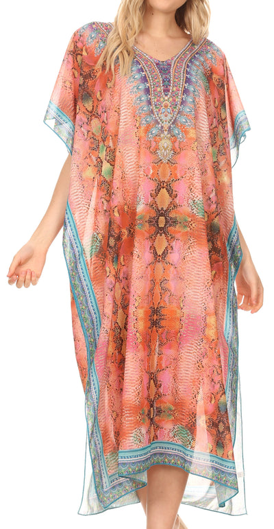 group-Ethnic Red (MKY Astryd Women's Flowy Maxi Long Caftan Dress Cover Up with Rhinestone)