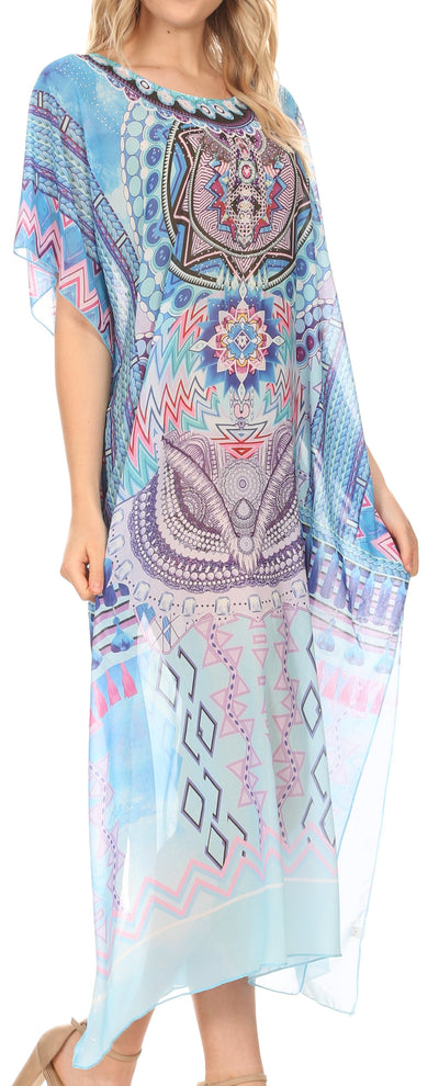 group-Medallion Blue (MKY Astryd Women's Flowy Maxi Long Caftan Dress Cover Up with Rhinestone)