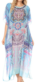 MKY Astryd Women's Flowy Maxi Long Caftan Dress Cover Up with Rhinestone#color_Medallion Blue