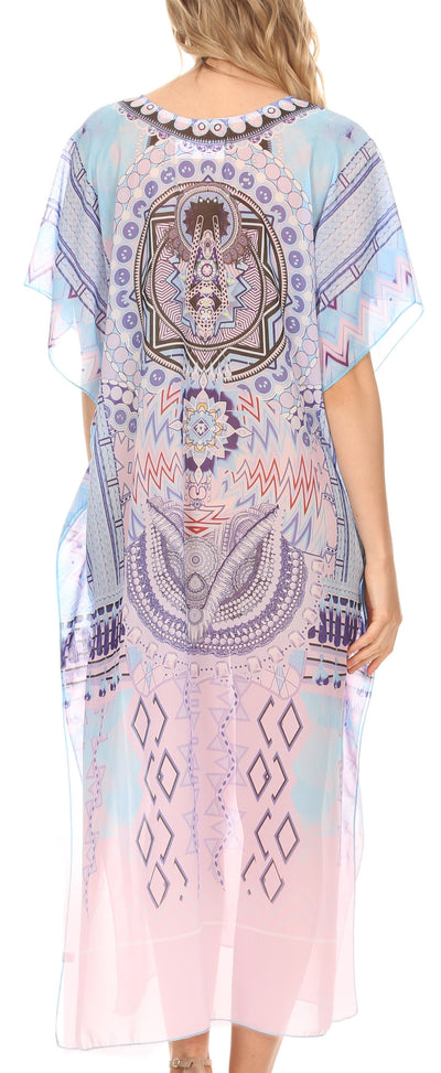 group-Medallion White (MKY Astryd Women's Flowy Maxi Long Caftan Dress Cover Up with Rhinestone)