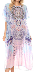 MKY Astryd Women's Flowy Maxi Long Caftan Dress Cover Up with Rhinestone#color_Medallion White