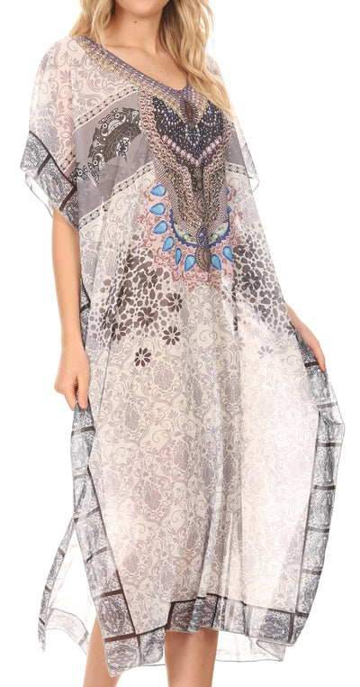 group-Tile White (MKY Astryd Women's Flowy Maxi Long Caftan Dress Cover Up with Rhinestone)