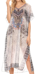 MKY Astryd Women's Flowy Maxi Long Caftan Dress Cover Up with Rhinestone#color_Tile White