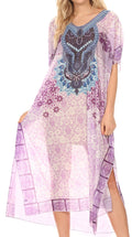 MKY Astryd Women's Flowy Maxi Long Caftan Dress Cover Up with Rhinestone#color_Tile Purple
