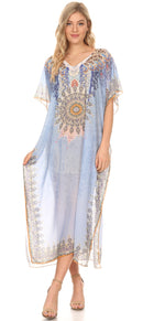 MKY Astryd Women's Flowy Maxi Long Caftan Dress Cover Up with Rhinestone