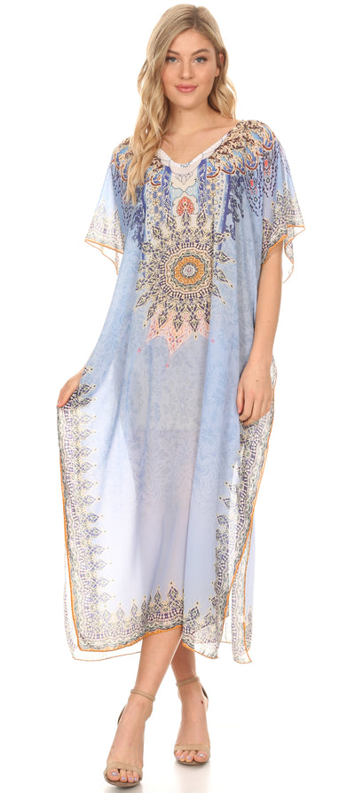 group-Tribal SkyBlue (MKY Astryd Women's Flowy Maxi Long Caftan Dress Cover Up with Rhinestone)