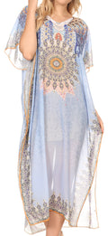 MKY Astryd Women's Flowy Maxi Long Caftan Dress Cover Up with Rhinestone#color_Tribal SkyBlue