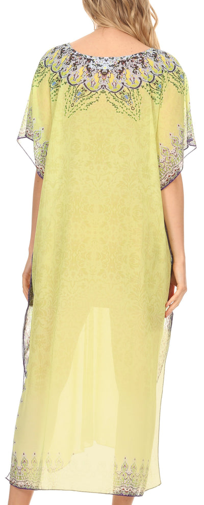 group-Tribal Yellow (MKY Astryd Women's Flowy Maxi Long Caftan Dress Cover Up with Rhinestone)