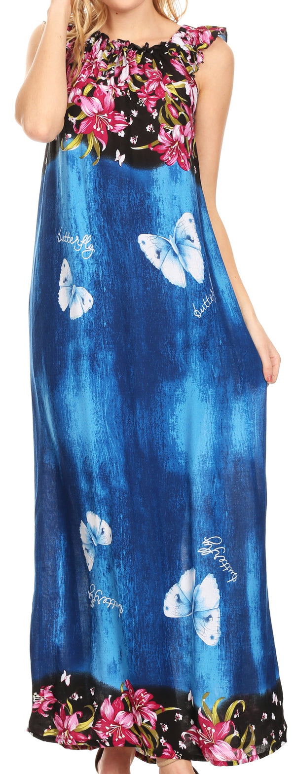 Sakkas Abby Womens Casual Long Tropical Off Shoulder Dress Elastic & Floral Print#color_Blue