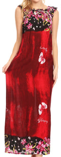 Sakkas Abby Womens Casual Long Tropical Off Shoulder Dress Elastic & Floral Print#color_Burgundy