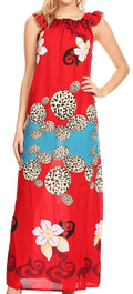 Sakkas Abby Womens Casual Long Tropical Off Shoulder Dress Elastic & Floral Print#color_Red