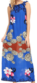 Sakkas Abby Womens Casual Long Tropical Off Shoulder Dress Elastic & Floral Print#color_Royal Blue