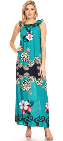 Sakkas Abby Womens Casual Long Tropical Off Shoulder Dress Elastic & Floral Print