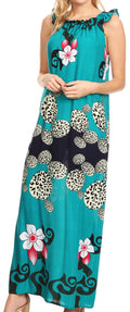 Sakkas Abby Womens Casual Long Tropical Off Shoulder Dress Elastic & Floral Print#color_Teal
