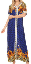 Sakkas Sabra Womens Long Casual Cover-up Tunic Kaftan V neck Dress#color_1917-Blue