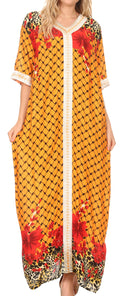 Sakkas Sabra Womens Long Casual Cover-up Tunic Kaftan V neck Dress#color_1917-Mustard