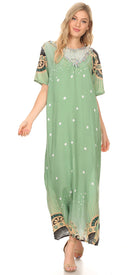 Sakkas Sabra Womens Long Casual Cover-up Tunic Kaftan V neck Dress