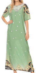 Sakkas Sabra Womens Long Casual Cover-up Tunic Kaftan V neck Dress#color_1918-Green